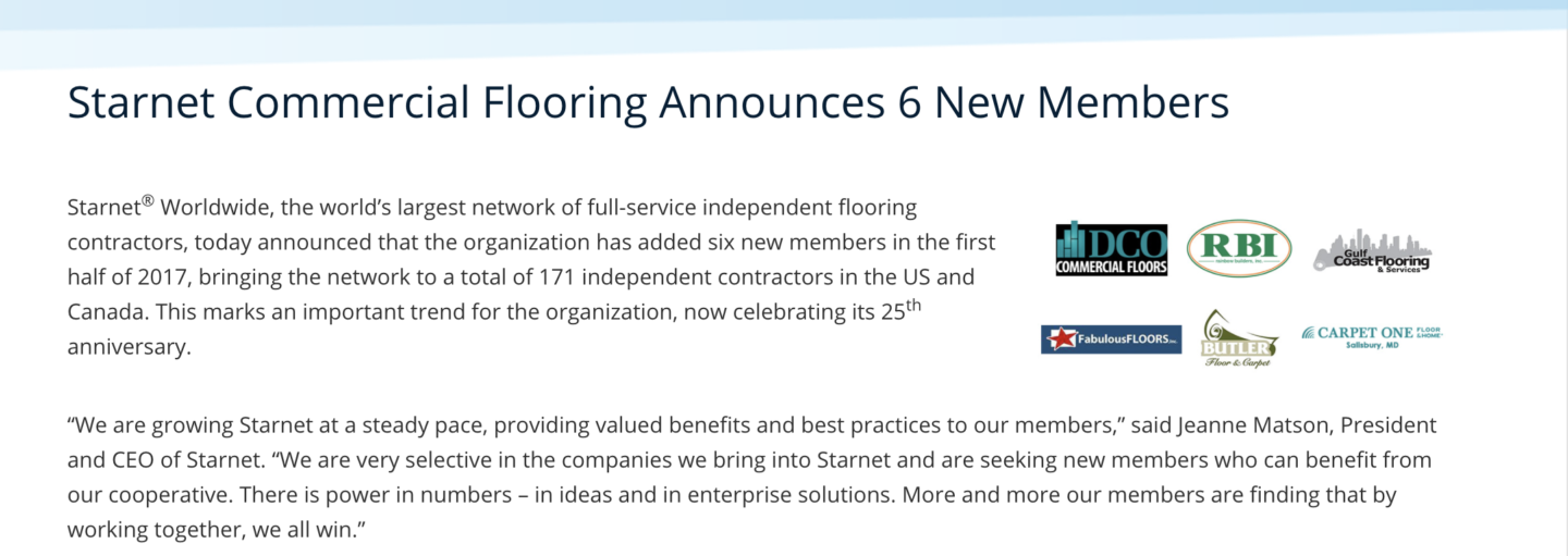 DCO Commercial Floors becomes a part of the buying group Starnet