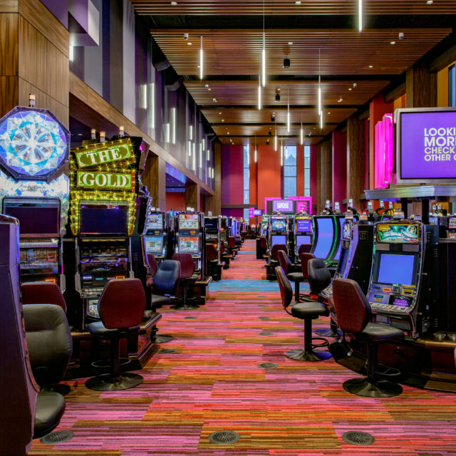 multi-colored carpet on casino floor