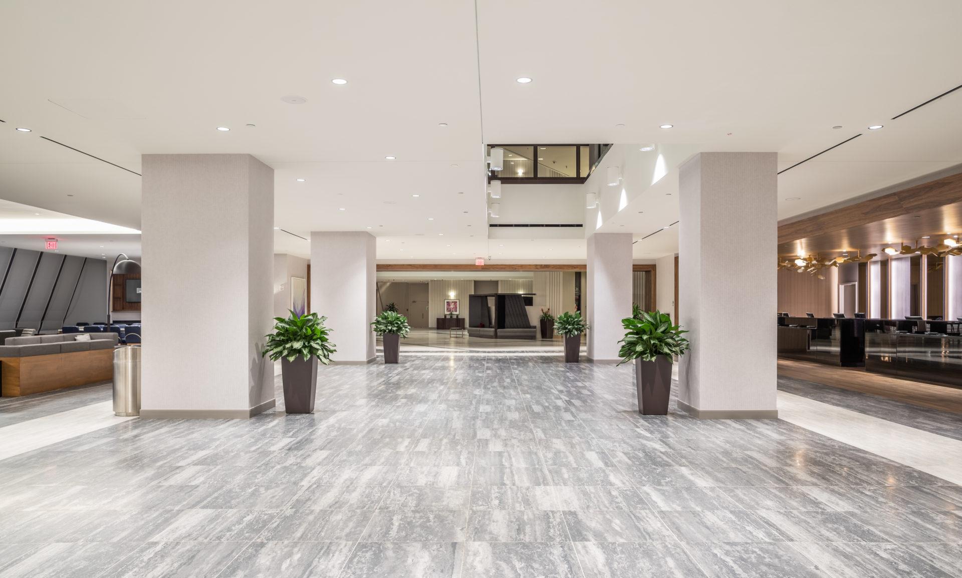 Multi-tonal gray tile installed in reception area