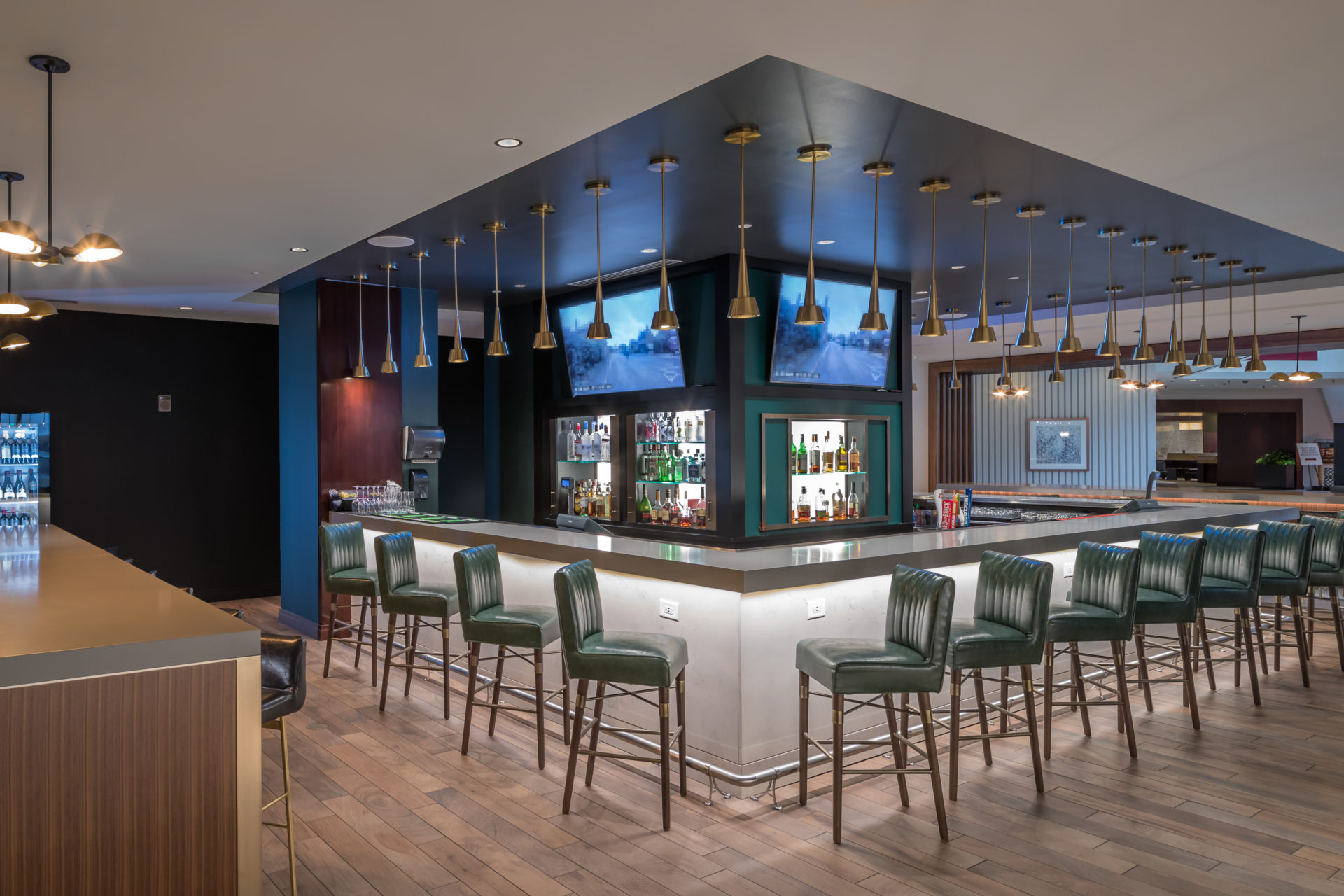 Hilton bar with tiled flooring