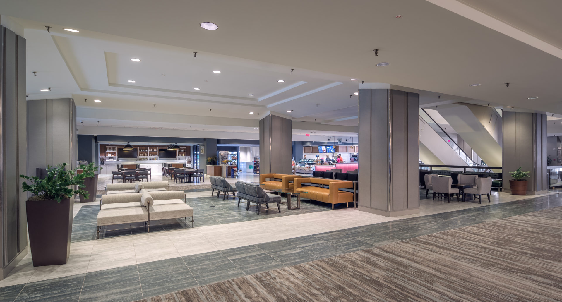 lounge area of lobby in the Hilton Hotel