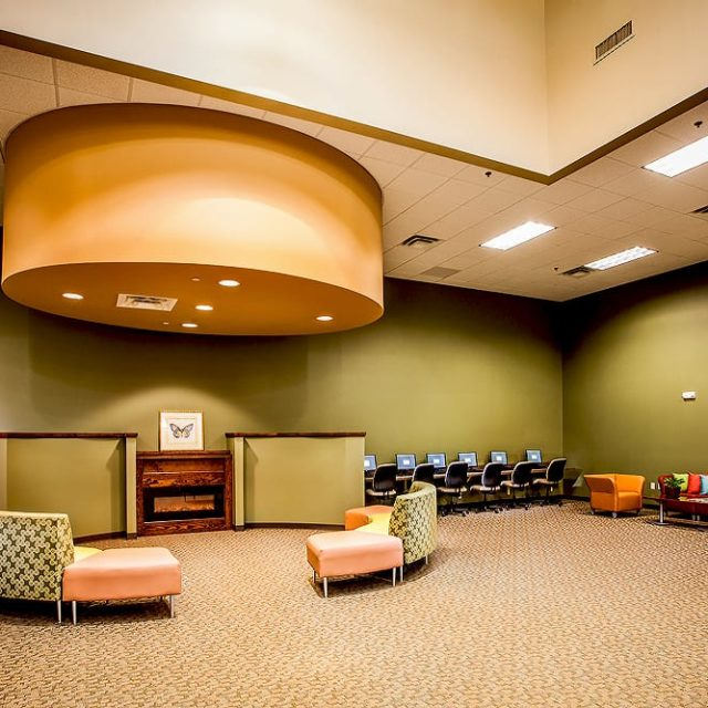 Academy for Classical Education lounge area with broadloom carpet