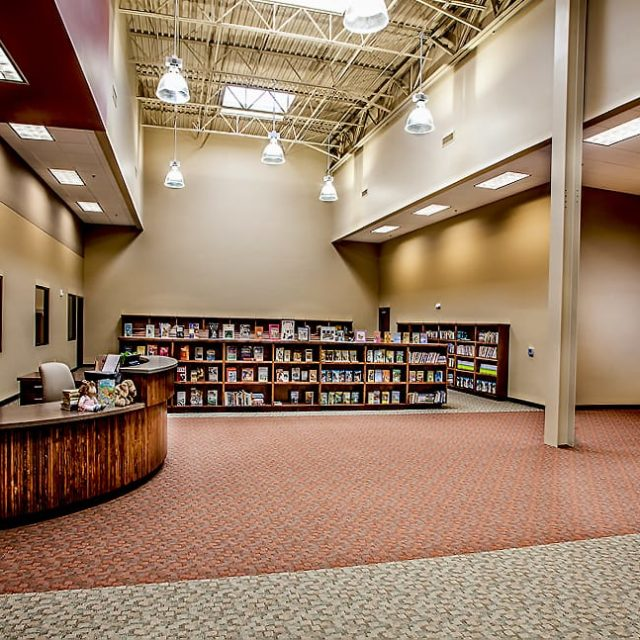 The library at Academy for Classical Education with block color carpeting