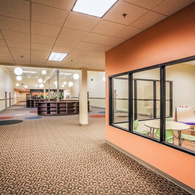 Broadloom carpet was installed by DCOCF in the library at Academy for Classical Education