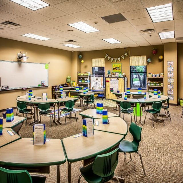 Classrooms at Academy for Classical Education were equipped with durable carpet