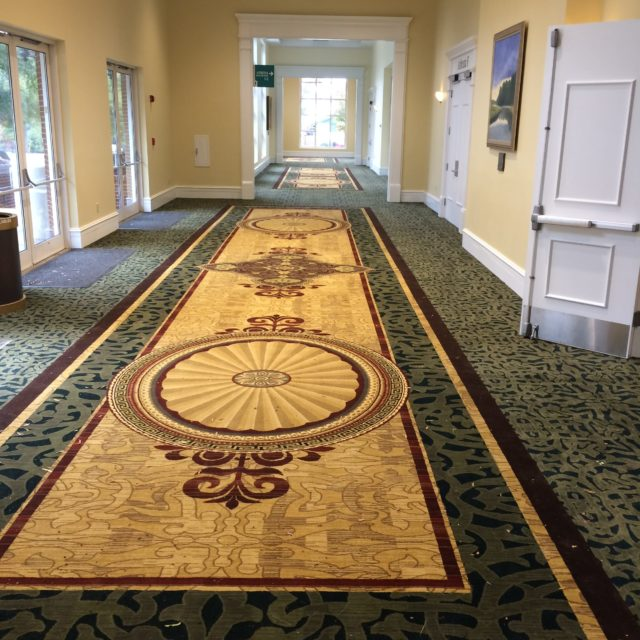 hallway with commercial grade carpet