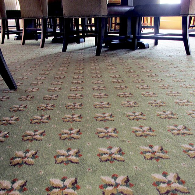 close up of green patterned carpet