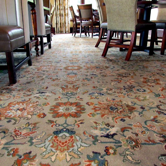 Close up image of floral carpet