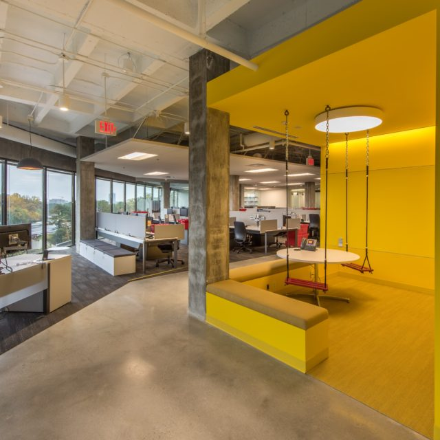 Colorful Carpet and Polished Concrete at FOCUS Brands