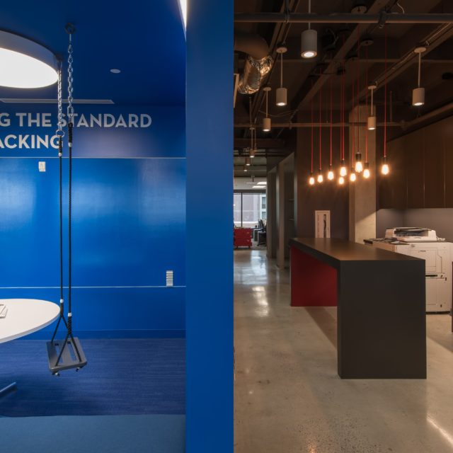 Contrast Between Colorful Carpet and Polished Concrete at FOCUS Brands
