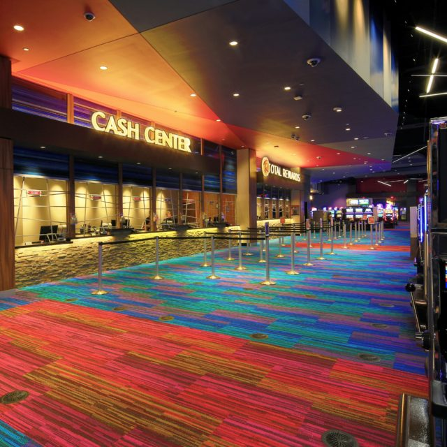 Wide-Angle Shot of Colorful Casino Floors at Harrah's