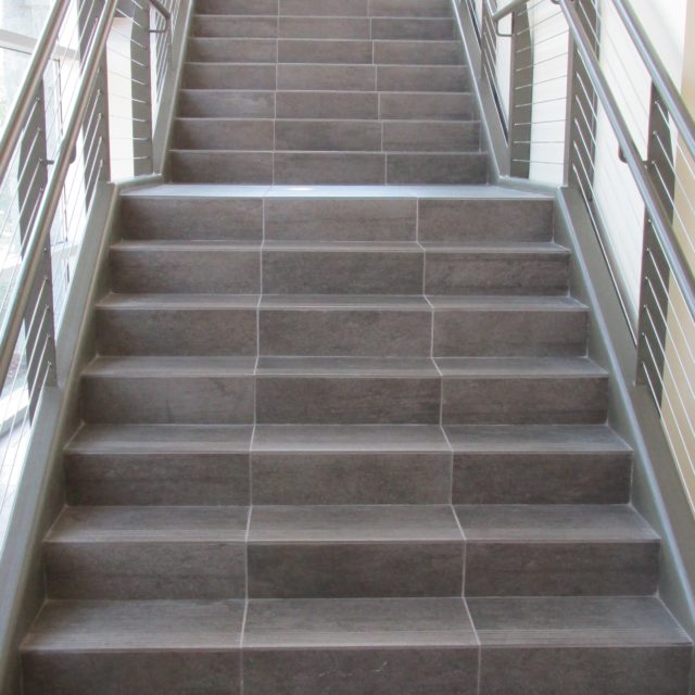 Tile installed by DCOCF was used to cover the stairs at Holy Innocents Episcopal School