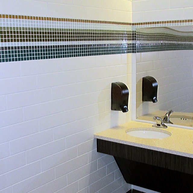 Bathroom at Holy Innocents Episcopal School with pencil tile details