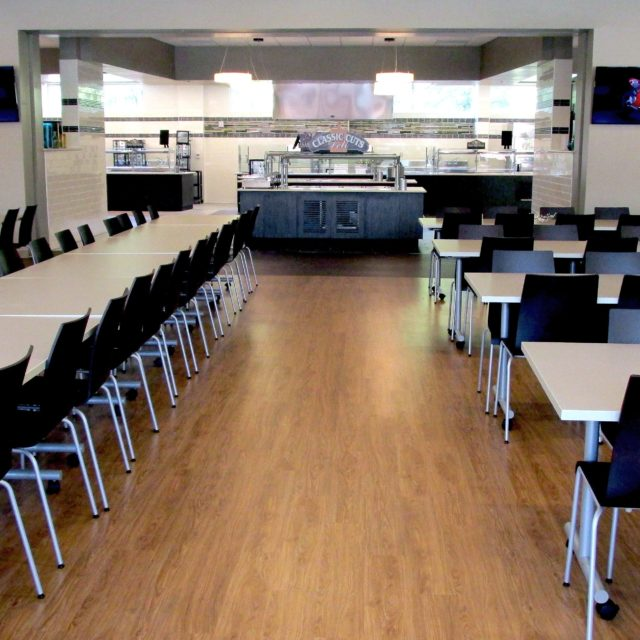 Holy Innocents Episcopal School cafeteria with faux wood floors