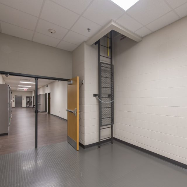 Hallways of Lakeview Academy were installed with resilient floors by DCOCF