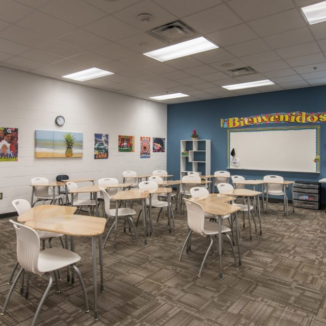 classroom at Lakeview Academy features carpet tile