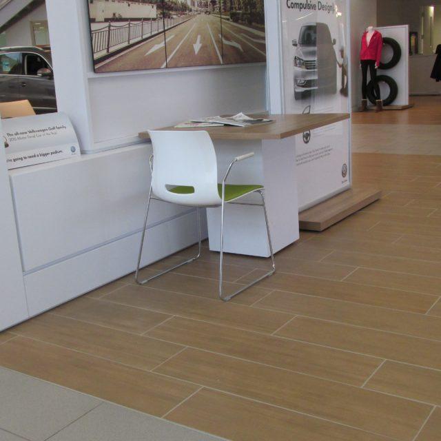 Tan Tile Flooring in the Nalley Volkswagen Showroom