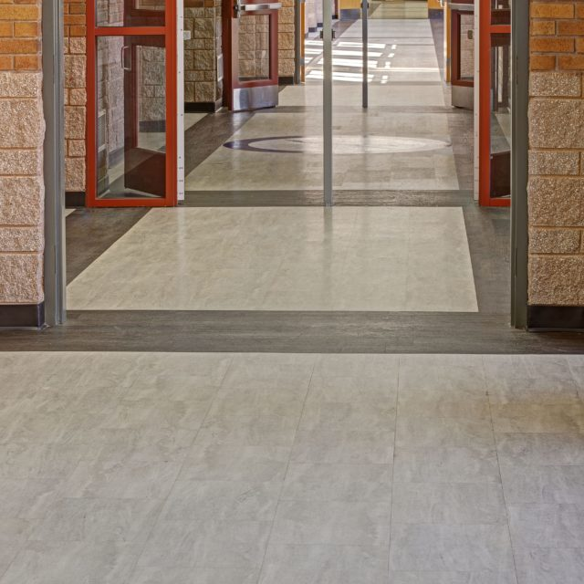 Durable LVP was installed in Oconee County High School halls by DCOCF