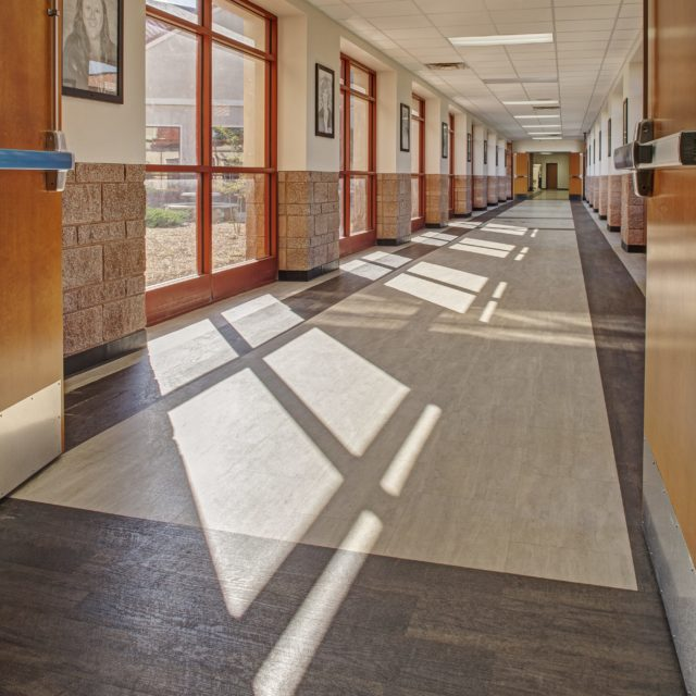 LVP is the low-maintenance and resilient flooring option for Oconee County High School
