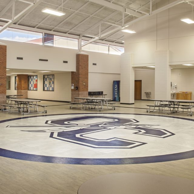 Oconee County High School with logo in the flooring