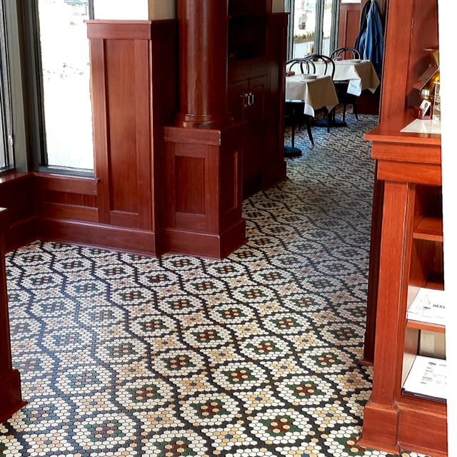 Moasic Tile Flooring with Greens and Reds