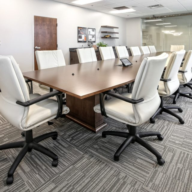 Off-Set Patterned Tile in Conference Room