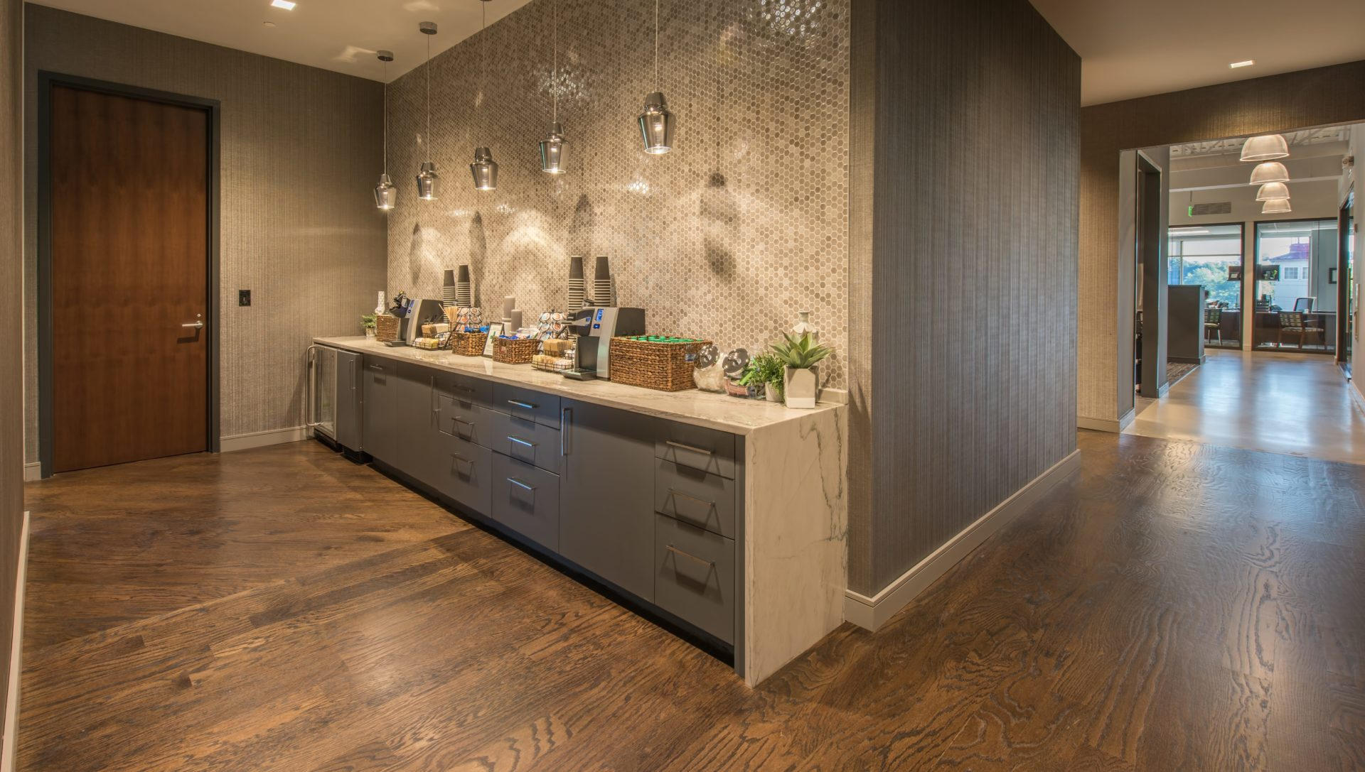 Dark Hardwoods with Moasic Tile Accent at Reeves Young