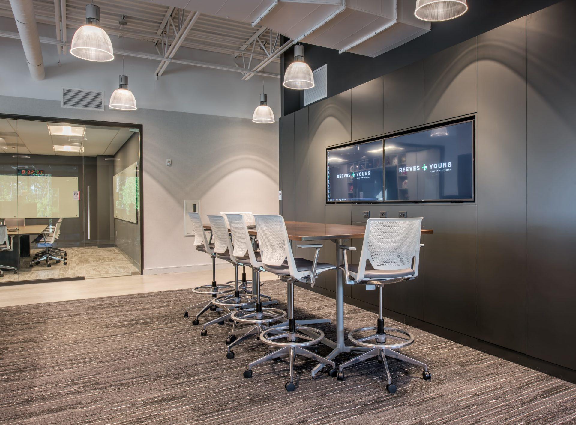 Striped Carpet Tile in Meeting Room