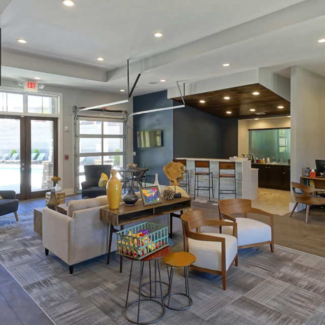 The leasing office at Bellamy Dahlonega with seating area