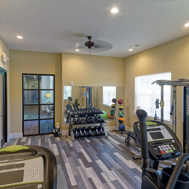 DCOCF provided the multi-tonal wood in the community fitness center
