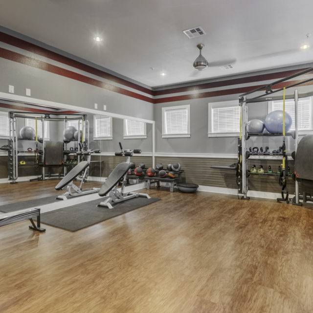Fitness center at Aspen Heights - Norman with durable floors