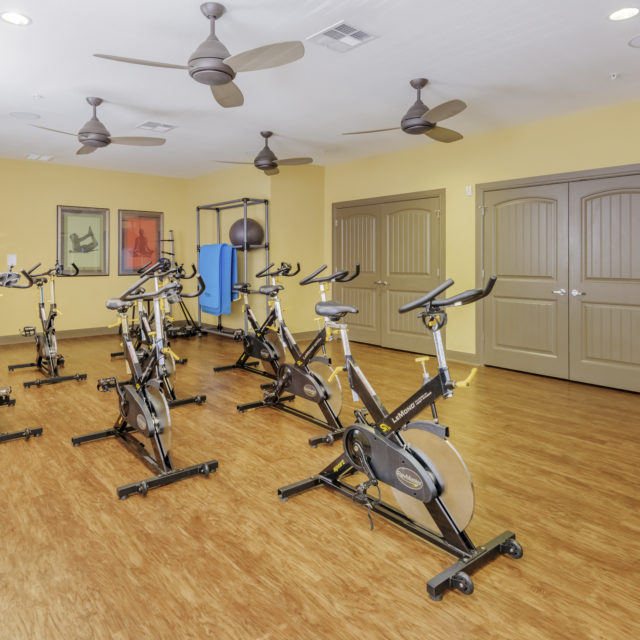 Fitness center with vinyl floors at . Aspen Heights - Stillwater