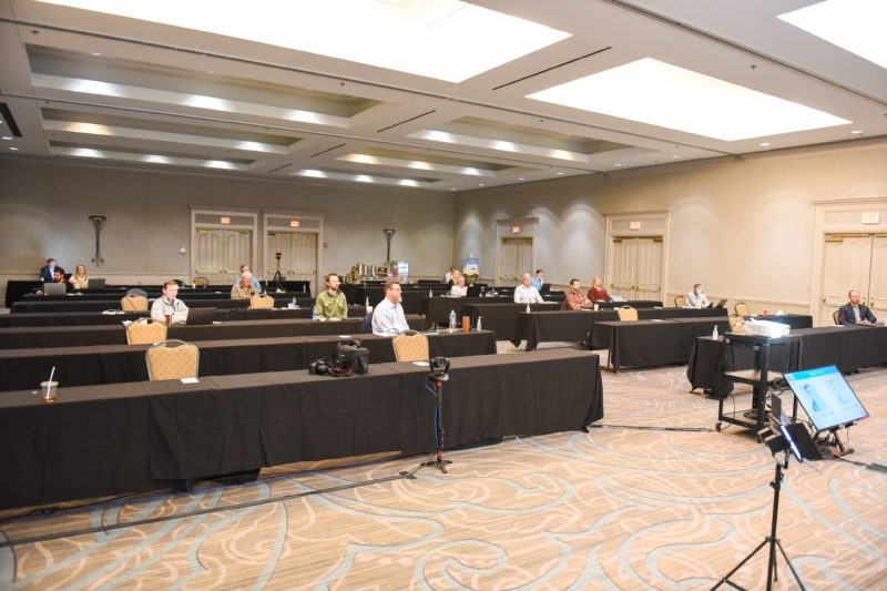 DCO Commerical Floors rented an oversize ballroom at Chateau Elan in order to provide adequate spacing for the staff to come together during the beginning of 2021.